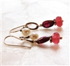 BERRY Red Garnet Earrings, White Freshwater Pearl Chalcedony Bali Sterling Silver, Artisan Handmade