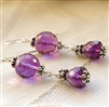 ROYAL Earrings- Purple Amethyst Gemstones, Sterling Silver Bali Beads.