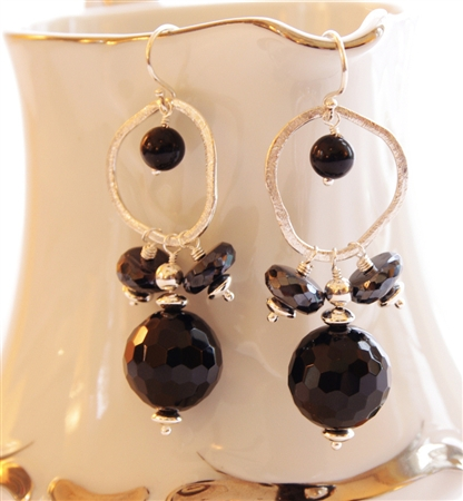 BLACKJACK Earrings- Black Onyx, Spinel, Brushed Silver Hoops, Sterling Silver Beads.