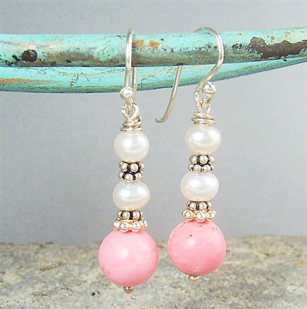 BELLA Earrings- Pink Turquoise Magnesite, White Freshwater Pearls, Sterling Silver Bali Beads.