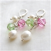 FAIRY PRINCESS Earrings- White Freshwater Pearl, Green and Pink Swarovski Crystal, Sterling Silver Lever Backs.