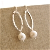 CONTEMPORARY PEARL Earrings- White Freshwater Pearls, Sterling Silver Hammered Oval Hoop.