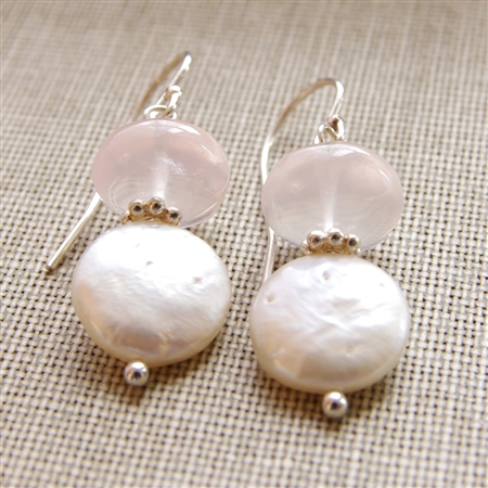 ROSE PEARL Earrings- Rose Quartz Gemstones, White Freshwater Coin Pearl, Sterling Silver.