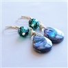 ENCHANTED Abalone Earrings, Emerald Swarovski Crystal Beaded Sterling Silver Dangle, Artisan Handmade