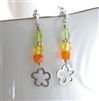 BLOOM Earrings- Sterling Silver Flowers, Orange Carnelian, Citrine, Peridot, Ball Posts.