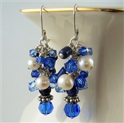Lapis Lazuli Earrings, Freshwater Pearl, Swarovski Crystal, Bali Beads, Sterling Silver, Lever Back