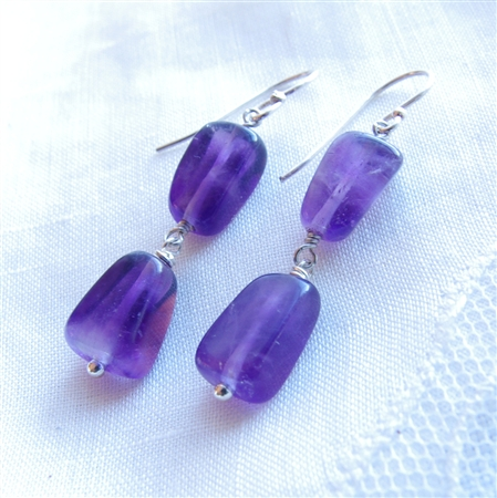 WISTERIA Earrings- Amethyst Gemstone Nuggets, Sterling Silver.