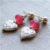 BELOVED Earrings- Sterling Silver Hearts, Red Chalcedony Gemstone, Sterling Silver Ball Posts.
