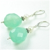 Aqua Chalcedony Earrings Freshwater Cultured Pearl Bali Bead Sterling Silver Lever Back Stone Dangle