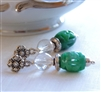 EMERALD ISLE Earrings- Carved Green Jade, Rock Quartz Crystal Gemstones, Bali Beads, Sterling Silver Flower Posts.
