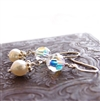 CRYSTAL PEARL Earrings- Clear Swarovski Crystal, White Freshwater Pearls, Sterling Silver Beads.
