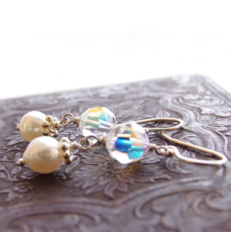 Crystal And Pearl Earrings White Freshwater Swarovski Sterling Silver