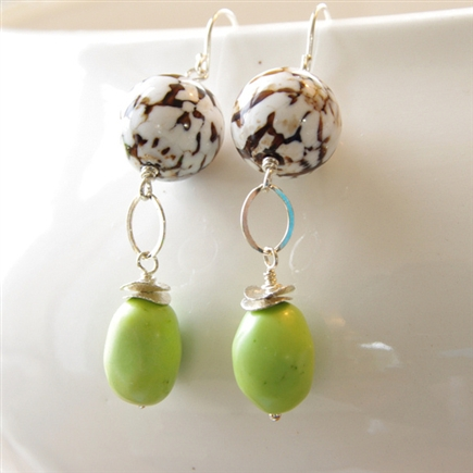 Natural Stone Earrings, Turtle Agate, Green Howlite, Sterling Silver
