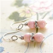 Pink Coral Earrings Sterling Silver Bead Stacked Dangle