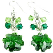 Shamrock Earrings Swarovski Crystal Green Clover St. Patrick's Day Irish Statement Celtic Jewelry