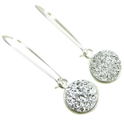 Druzy Drop Earrings Real Authentic Drusy Small Round Sterling Silver Long Kidney Wire Dangle