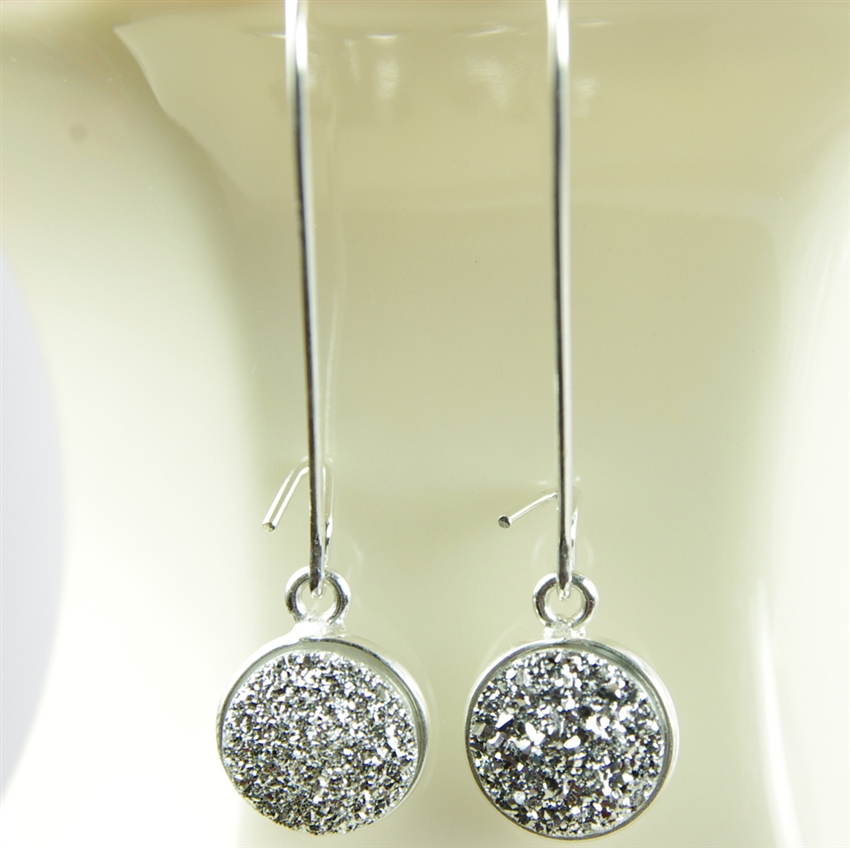 Druzy Drop Earrings Real Authentic Drusy Small Round Sterling Silver ...