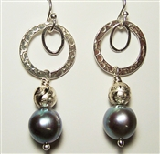 Gray Swarovski Pearl Earrings Sterling Silver Circle Hoop