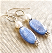 Kyanite Earrings, Natural Stone Earrings, Blue Kyanite, Gemstone Jewelry, Freshwater Pearl, Sterling Silver, Dangle Earrings, Bali Bead, Kyanite Jewelry, Blue Stone Earrings, Stoneray Studio