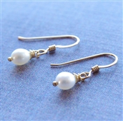 Simple Pearl Earrings, Drop Earrings, Freshwater Pearl, Jewelry, 14kt Gold Filled, White Pearl Earrings, Childrens Pearl Earrings, Childrens Jewelry, Delicate Pearl Earrings, Kids, Pearl Jewelry, June Birthday, Birthstone Jewelry, Stoneray Studio