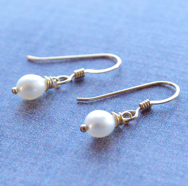 Simple Pearl Earrings Drop Freshwater Jewelry 14kt Gold Filled White Childrens
