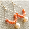 Peach Coral Earrings, Freshwater Pearl, 14kt Gold Filled, Hammered Teardrop Hoop