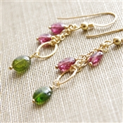 Tourmaline Dangle Earrings, Beaded Earrings, Pink Tourmaline, Gemstone Earrings, Green Tourmaline, Pink and Green, Tourmaline Earrngs, 14kt Gold Filled, Gemstone Jewelry, October Birthday, Tourmaline Jewelry, Stoneray Studio