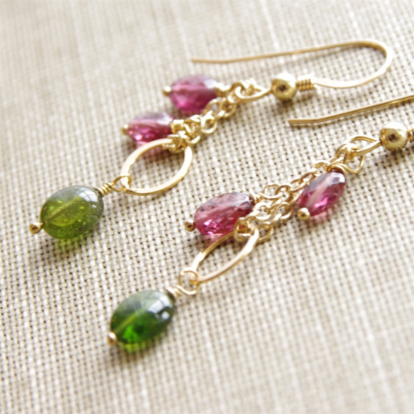 diamond tourmaline gold earrings watermelon and rose pave