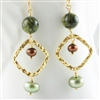 Brown Green Earrings, Gold Dangle Earrings, Russian Serpentine, Jewelry, Natural Stone, Earrings, Freshwater Pearl, 14kt Gold Filled, Green Earrings, Gold, Beaded Earrings, Stoneray Studio