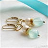 OCEAN SPRAY Handcrafted Earrings.  Chalcedony, Pearl, Gold - Artisan Handmade