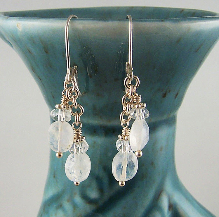 sale post media stud moon stone moonstone gift rainbow earrings bridesmaids ideas small
