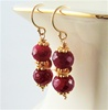 WILDBERRY Ruby Earrings, 14kt Gold July Birthstone Birthday, Artisan Handmade