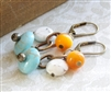 HARVEST MOON White Turquoise Aqua Blue Beaded Bronze Orange Dangle, Artisan Handmade