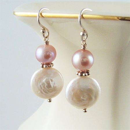 BLUSH White Coin Pearl Pink Pearl Beaded Sterling Silver Elegant Dangle, Artisan Handmade