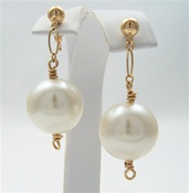 BIG PEARL Earrings Vintage White Glass 14kt Gold Filled Beaded Post Dangle, Artisan Handmade