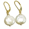 Coin Pearl Earrings, 14kt Gold Filled Lever Back