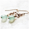 Aqua Chalcedony Earrings, Peruvian Blue Gemstone Jewelry, 14kt Gold Filled