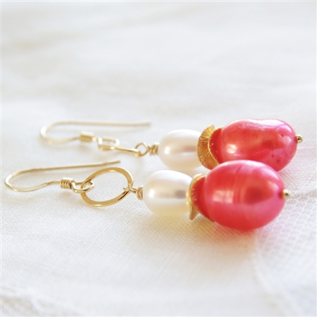 Coral Pearl Earrings, 14kt Gold Filled, Tropical Wedding Jewelry, Guava Bridesmaid Earrings