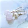 Rose Quartz Earrings // Pink Gemstone Dangle // Pearl // Gold Jewelry