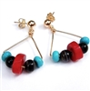 Coral Turquoise Earrings, Natural Stone Black Sardonyx, 14kt Gold Filled, Post Earrings