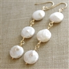 Coin Pearl Handmade Earrings, Freshwater Pearl, 14kt Gold Filled
