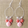 Coral Earrings, Pink Coral, Peach Coral, Sterling Silver