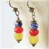 Colorful Stone Earrings, Blue Sodalite, Olive Jade, Red Glass, Sterling Silver, Bali Bead