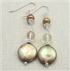 Brown Pearl Earrings, Sterling Silver Long Dangle, Coin Pearl, Citrine Gemstone