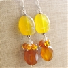 Amber Gemstone Earrings, Gold Chalcedony, Sterling Silver