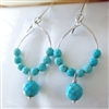 Turquoise Earrings // Turquoise Beaded Hoop // Sterling Silver // Turquoise Jewelry // December Birthstone Jewelry