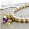 Amethyst Citrine Pearl Necklace, Beaded Necklace, Freshwater Pearl, Jewelry, 14kt Gold Filled, Pearl Bride Necklace, Purple and Yellow Wedding Jewelry, Gemstone Jewelry, Pearl Necklace, Citrine Amethyst Jewelry, Stoneray Studio
