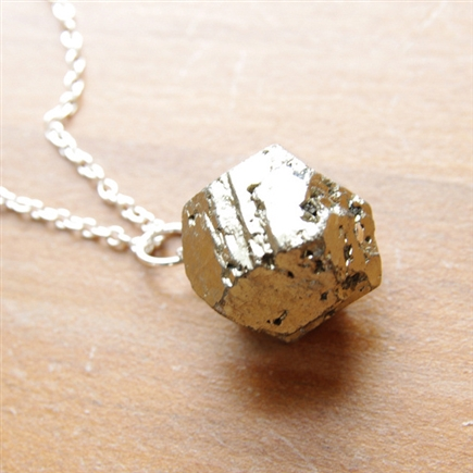 Pyrite Necklace, Pyrite Pendant, Natural Pyrite, Jewelry, Sterling Silver, Chain Necklace, Natural Stone Pendant, Stoneray Studio