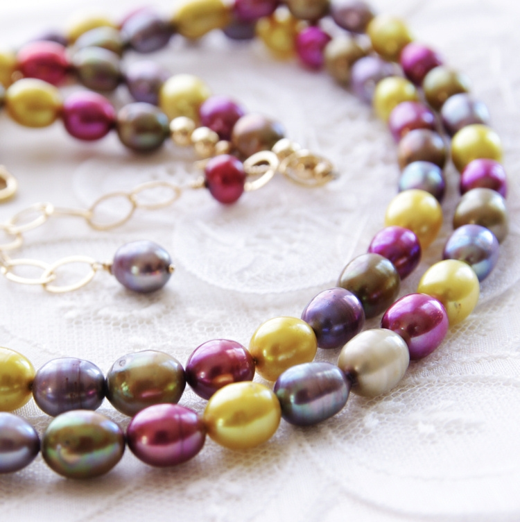 Colorful Pearl Necklace Multistrand Necklace Freshwater Pearl