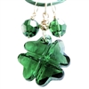 Shamrock Necklace Green Swarovski Crystal Clover Leather 14kt Gold Filled